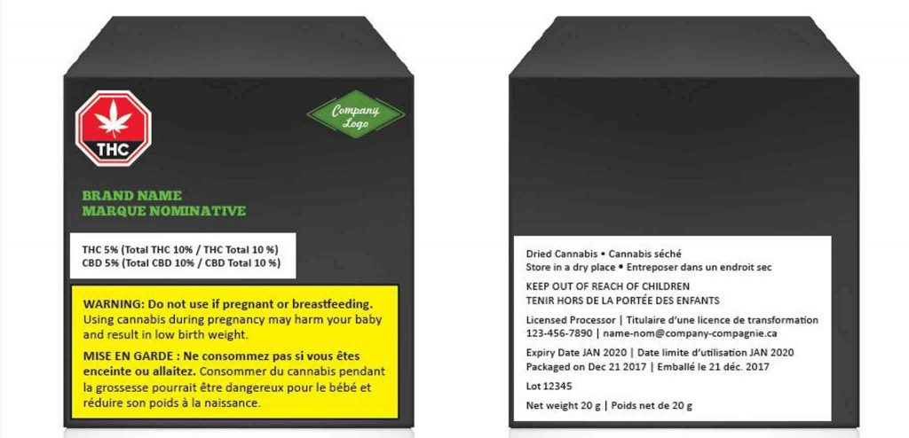 canada marijuana packages